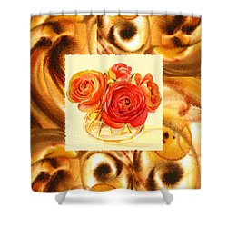Cappuccino Abstract Collage Ranunculus   Shower Curtain by Irina Sztukowski