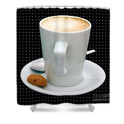 Cappuccino With An Amaretti Biscuit Shower Curtain by Terri Waters