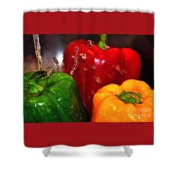 Capsicum In The Wash Shower Curtain by Kaye Menner