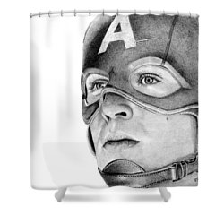 Captain America Shower Curtain by Kayleigh Semeniuk