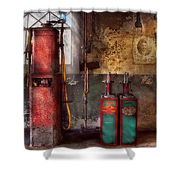Car - Station - Gas Pumps Shower Curtain by Mike Savad