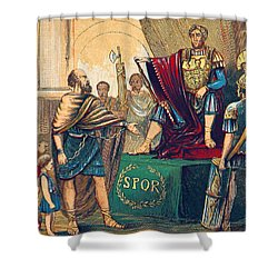 Shower Curtain featuring the photograph Caractacus Before Emperor Claudius, 1st by British Library