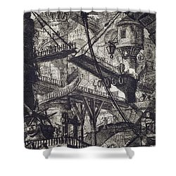 Carceri Vii Shower Curtain by Giovanni Battista Piranesi