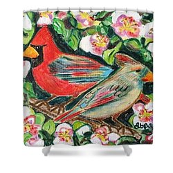 Cardinals In An Apple Tree Shower Curtain by Diane Pape