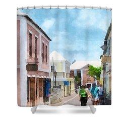 Caribbean - A Street In St. George's Bermuda Shower Curtain by Susan Savad