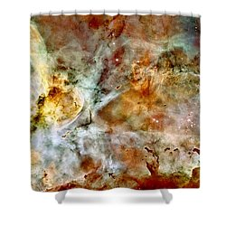 Carina Nebula Panorama Shower Curtain by Benjamin Yeager