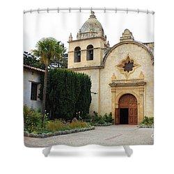 Carmel Mission Church Shower Curtain by Carol Groenen