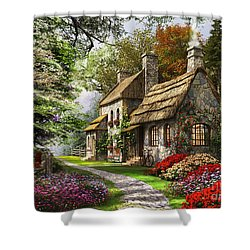 Carnation Cottage Shower Curtain by Dominic Davison