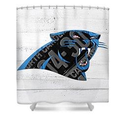 Carolina Panthers Football Team Retro Logo Recycled North Carolina License Plate Art Shower Curtain by Design Turnpike