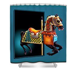 Carousel Horse Left Side Shower Curtain by Thomas Woolworth