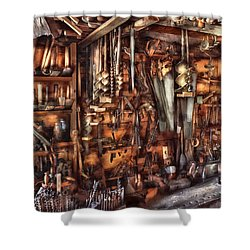 Carpenter - That's A Lot Of Tools  Shower Curtain by Mike Savad