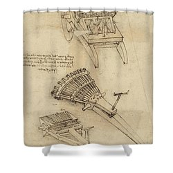 Cart And Weapons From Atlantic Codex Shower Curtain by Leonardo Da Vinci