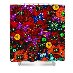 Cartoon In Happy Style Pop Art Shower Curtain by Pepita Selles