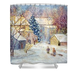 Carversville Snow Shower Curtain by Pamela Parsons