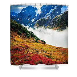 Cascade Pass Peaks Shower Curtain by Inge Johnsson