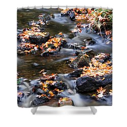 Cascading Autumn Leaves On The Miners River Shower Curtain by Optical Playground By MP Ray