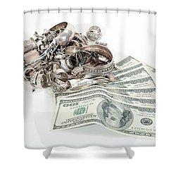 Cash For Sterling Silver Scrap Shower Curtain by Gunter Nezhoda