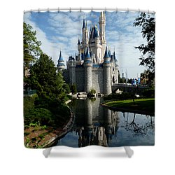 Castle Reflections Shower Curtain by Nora Martinez