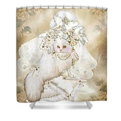 Cat In Fancy Bridal Hat Shower Curtain by Carol Cavalaris