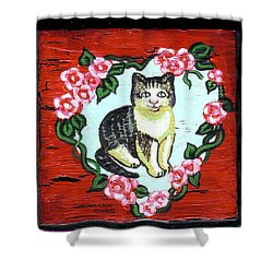 Cat In Heart Wreath 1 Shower Curtain by Genevieve Esson