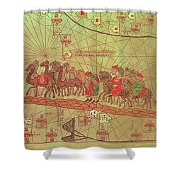 Catalan Atlas, Detail Showing The Family Of Marco Polo 1254-1324 Travelling By Camel Caravan, 1375 Shower Curtain by Spanish School