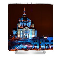 Cathedral Of St Paul All Dressed Up For Red Bull Crashed Ice Shower Curtain by Wayne Moran