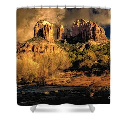 Cathedral Rock Before The Rains Came Shower Curtain by Jon Burch Photography