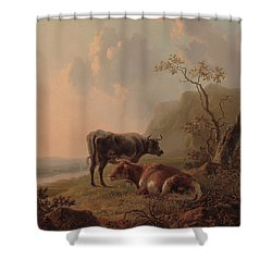Cattle In An Italianate Landscape Shower Curtain by Jacob van Strij