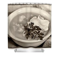 Cauliflower Soup Sepia Tone Shower Curtain by Iris Richardson