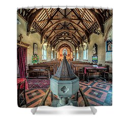 Cefn Stone Font Shower Curtain by Adrian Evans