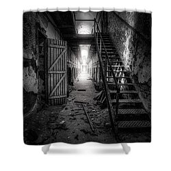 Cell Block - Historic Ruins - Penitentiary - Gary Heller Shower Curtain by Gary Heller