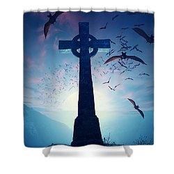 Celtic Cross With Swarm Of Bats Shower Curtain by Johan Swanepoel