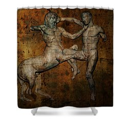 Centaur Vs Lapith Warrior Shower Curtain by Daniel Hagerman