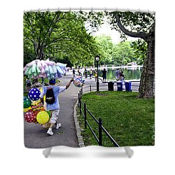 Central Park Balloon Man Shower Curtain by Madeline Ellis