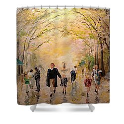 Central Park Early Spring Shower Curtain by Alan Lakin