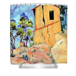 Cezanne's House With Cracked Walls Shower Curtain by Jamie Frier