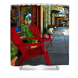 Chairs On A Sidewalk Shower Curtain by James Eddy