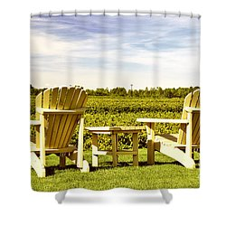 Chairs Overlooking Vineyard Shower Curtain by Elena Elisseeva