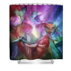 Chakra Heart Shower Curtain by Carol Cavalaris