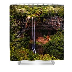 Chamarel Waterfall 1. Mauritius Shower Curtain by Jenny Rainbow