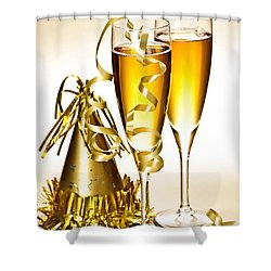 Champagne And New Years Party Decorations Shower Curtain by Elena Elisseeva