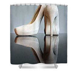 Champagne Stiletto Shoes Shower Curtain by Terri Waters