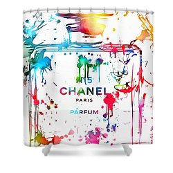 Chanel Number Five Paint Splatter Shower Curtain by Dan Sproul