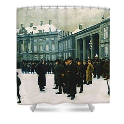 Changing Of The Guard At Amalienborg Palace Shower Curtain by Paul Fischer