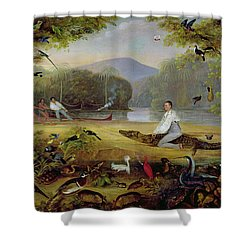 Charles Waterton Capturing A Cayman, 1825-26 Shower Curtain by Captain Edward Jones