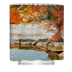 Chasing The Light At Pedernales Falls State Park Hill Country Shower Curtain by Silvio Ligutti