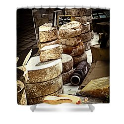 Cheeses On The Market In France Shower Curtain by Elena Elisseeva