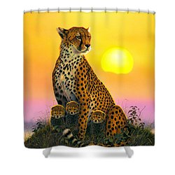 Cheetah And Cubs Shower Curtain by MGL Studio - Chris Hiett