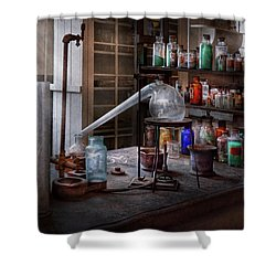 Chemist - My Retort Is Better Than Yours  Shower Curtain by Mike Savad