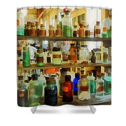 Chemistry - Bottles Of Chemicals Green And Brown Shower Curtain by Susan Savad